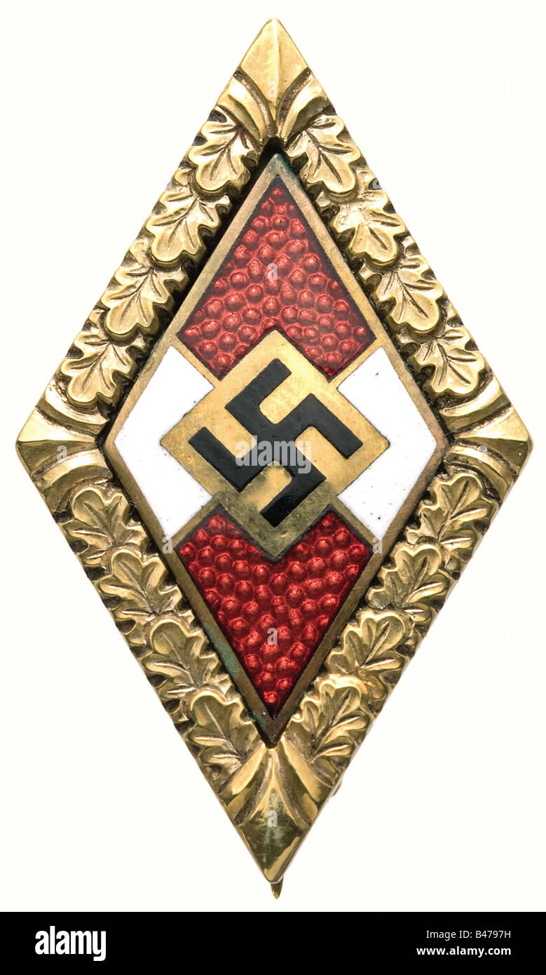 Hanna Reitsch - a Golden Honour Badge of the Hitler Youth with Oakleaves., (OEK 3767). Gold and enamel, polished - Stock Image