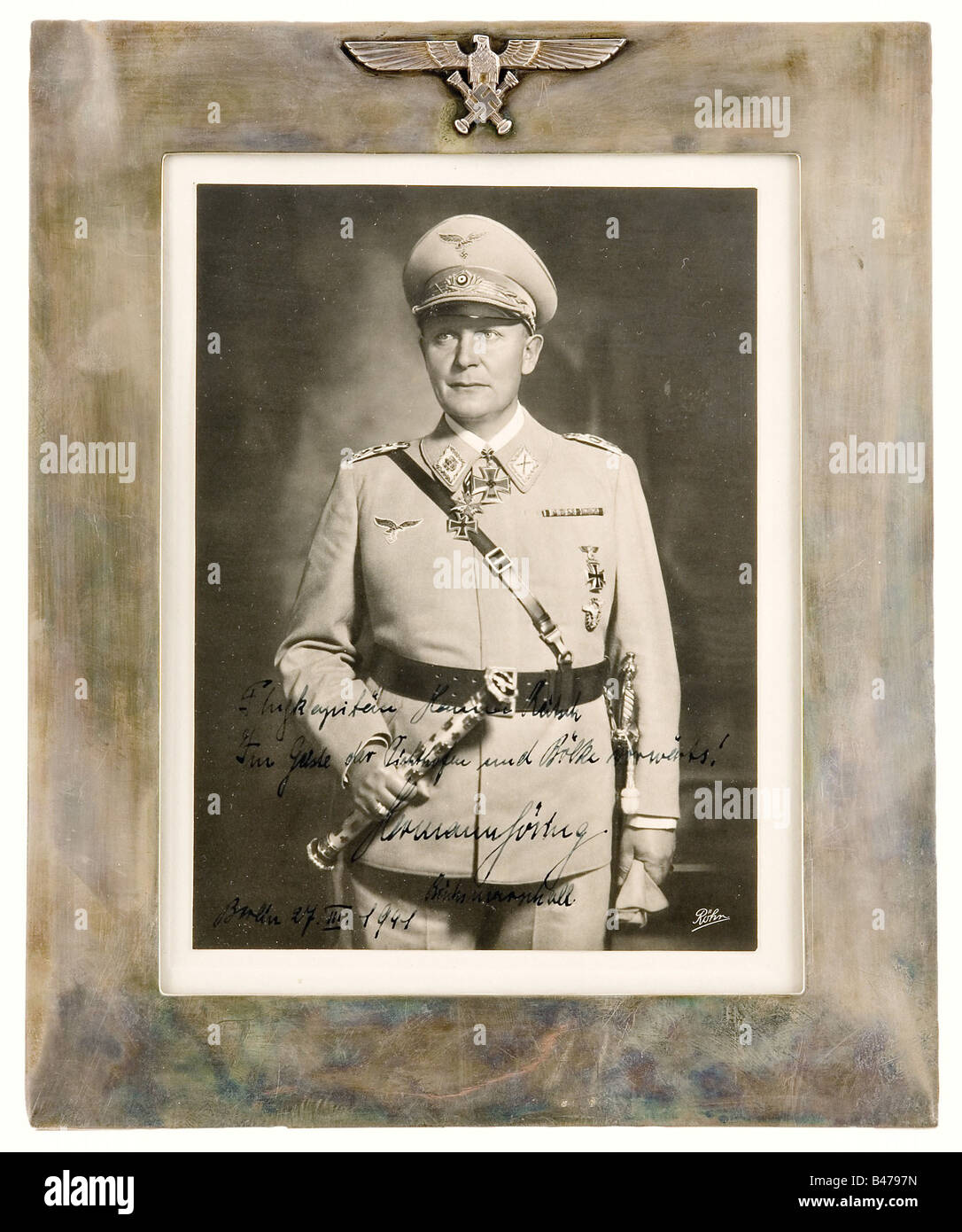 Hanna Reitsch - Hermann Göring., Dedication photograph of the Reichsmarschall dated 'Berlin 27.III.1941', - Stock Image