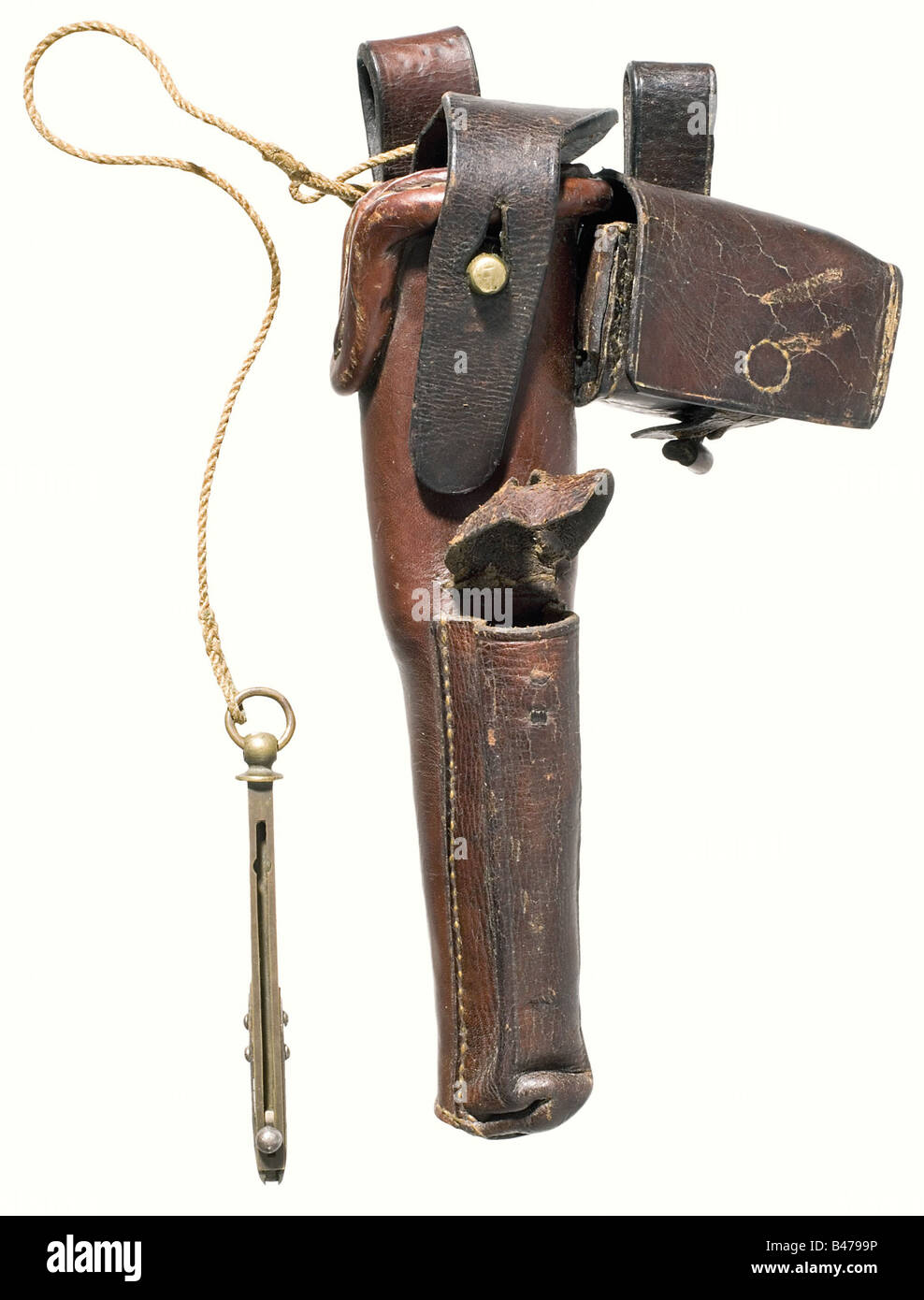 A holster for revolver a/m (Colt), 1857., Brown leather with reinforced edges and closing strap. Sewn on extra pouch - Stock Image