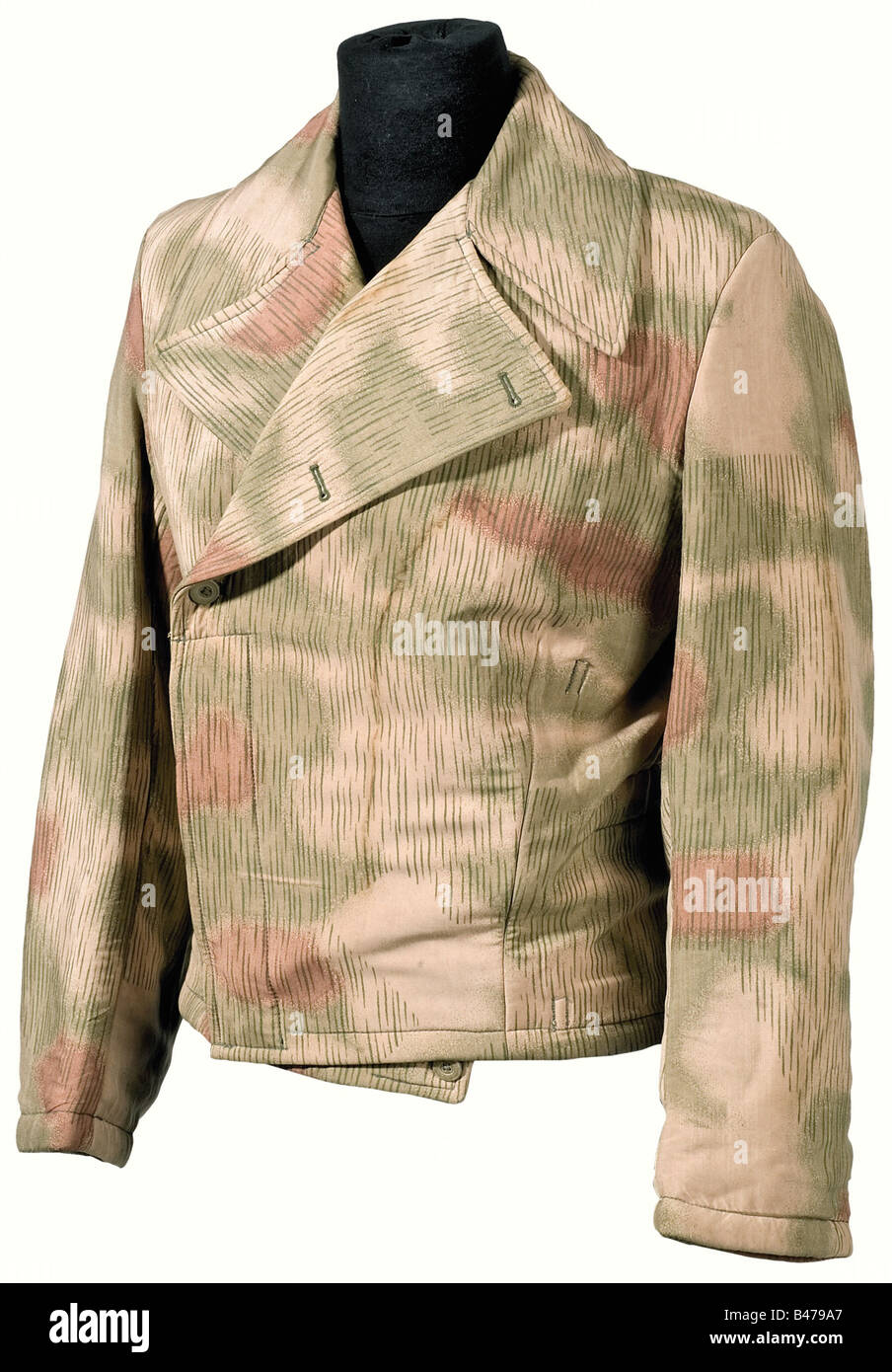 A camouflage jacket, in the special uniform style for tank troops. Swamp camouflage version, with white interior, - Stock Image