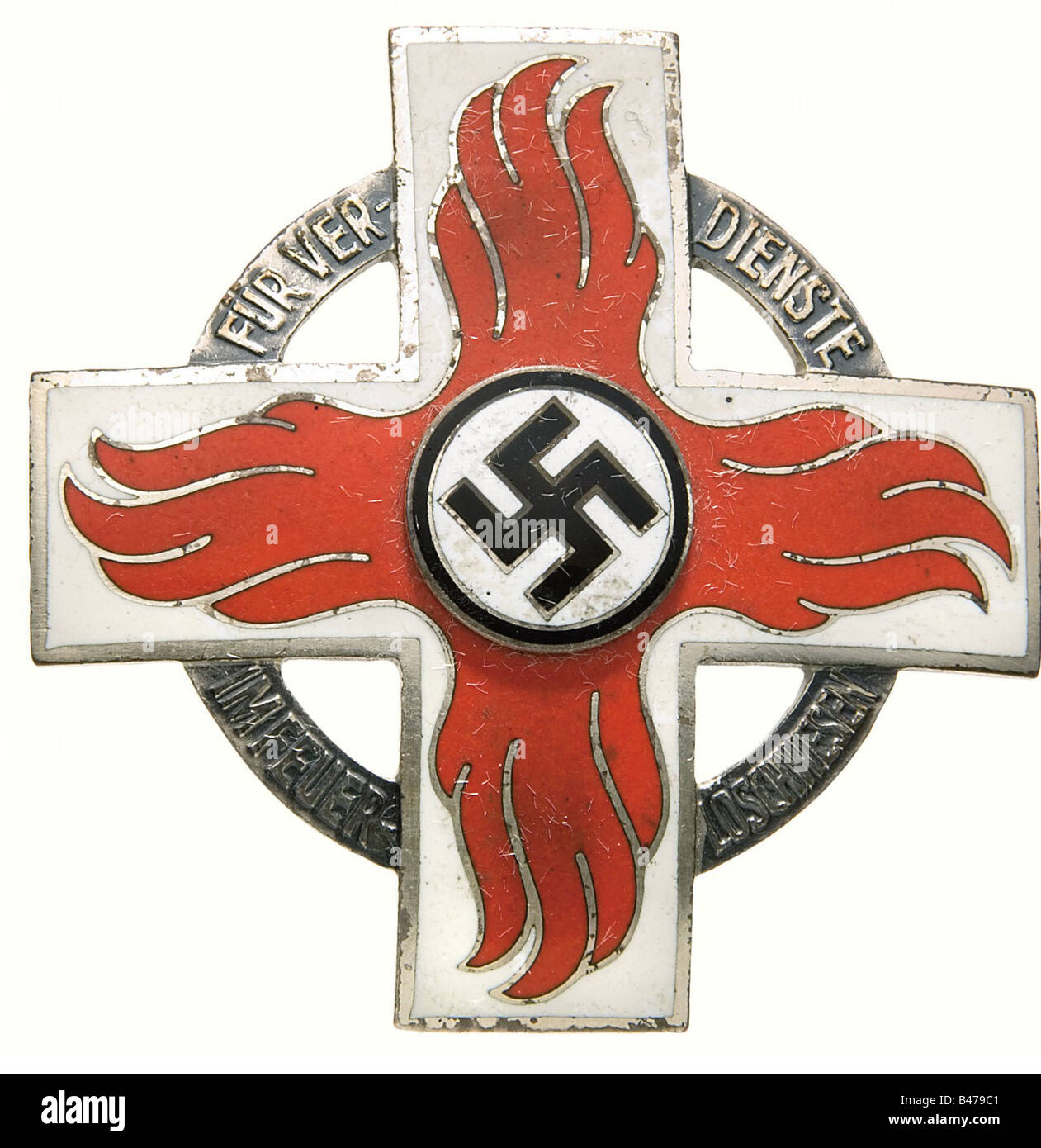 A Fire Brigade Honour Badge 1st Class., Slightly cambered pinned cross with waisted needle, non-ferrous metal, enamelled - Stock Image