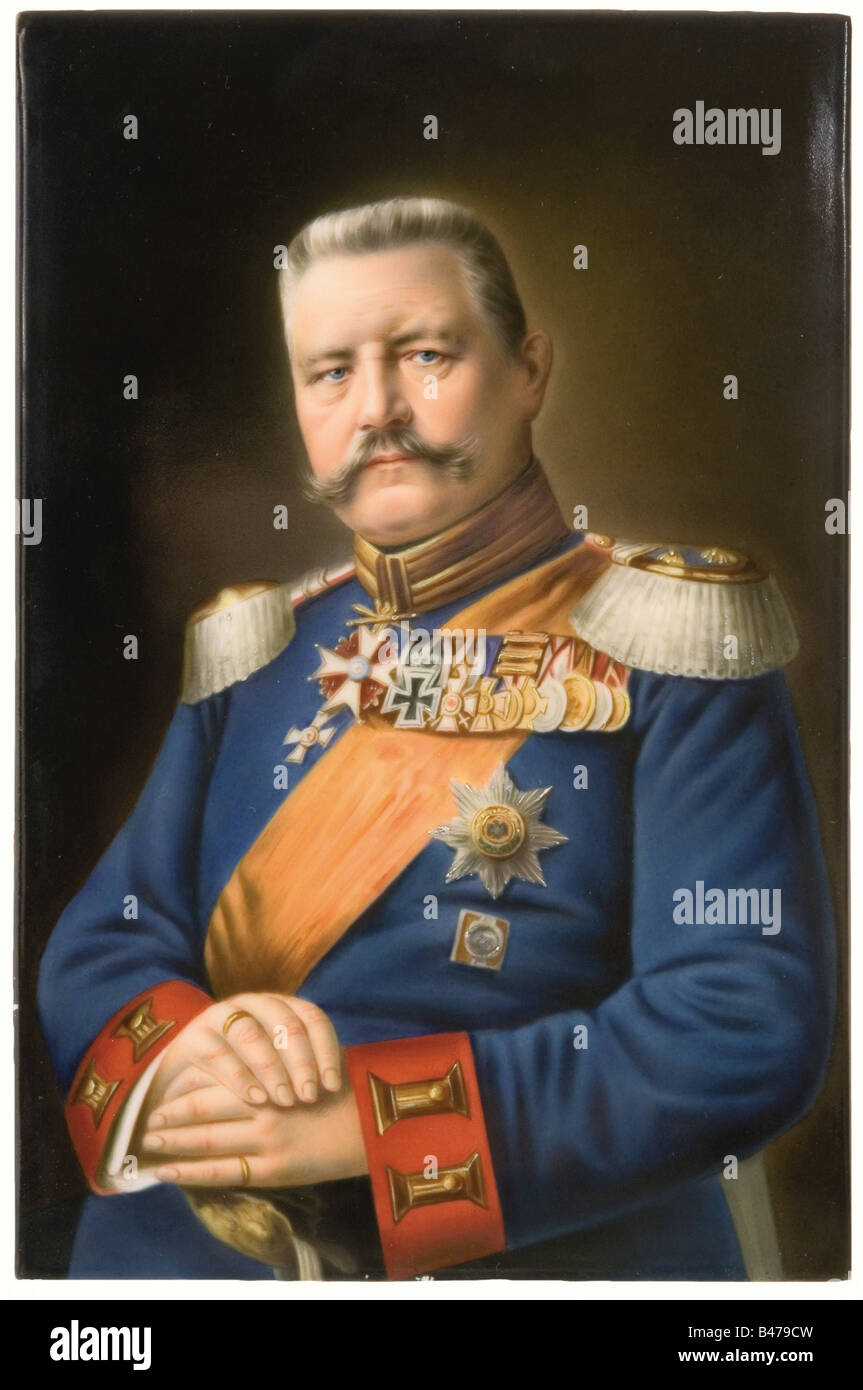 Field Marshal Paul von Hindenburg, a KPM (Imperial Porcelain Factory) porcelain plate. The Field Marshal in uniform - Stock Image