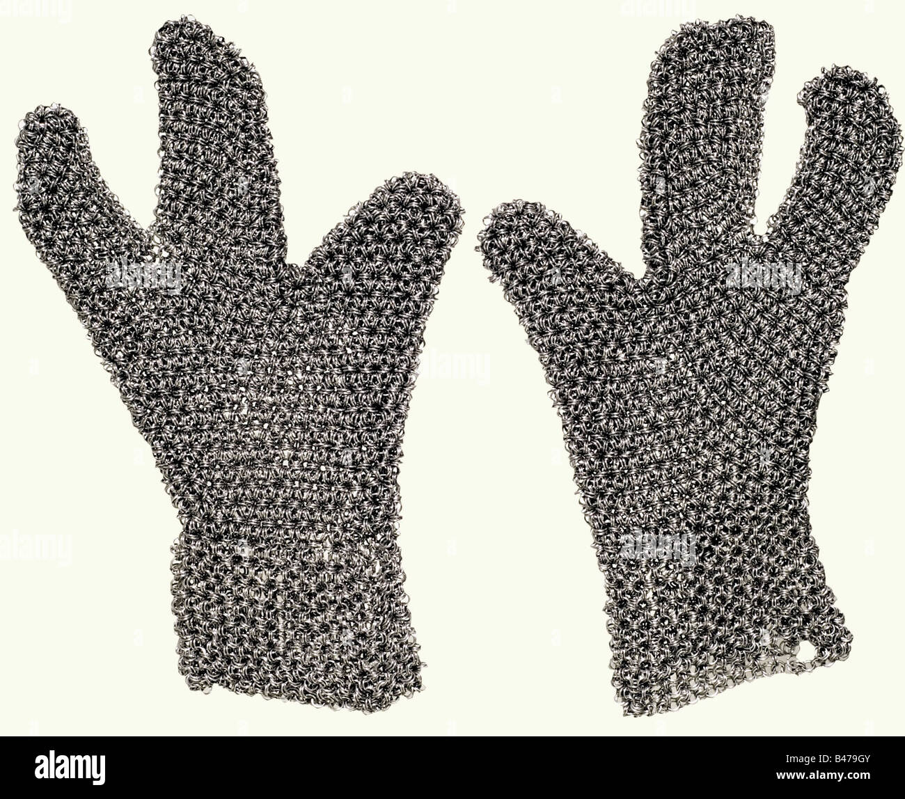 A set of chain mail, Southern Caucasus, 1st half of the 19th century. Hauberk, coif, and gloves, made of mail of - Stock Image