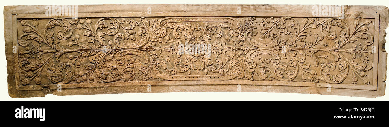 Two carved panels, Portugal(?), 18th century. Oak with high carved leafy and flowery vines. There is a cartouche - Stock Image