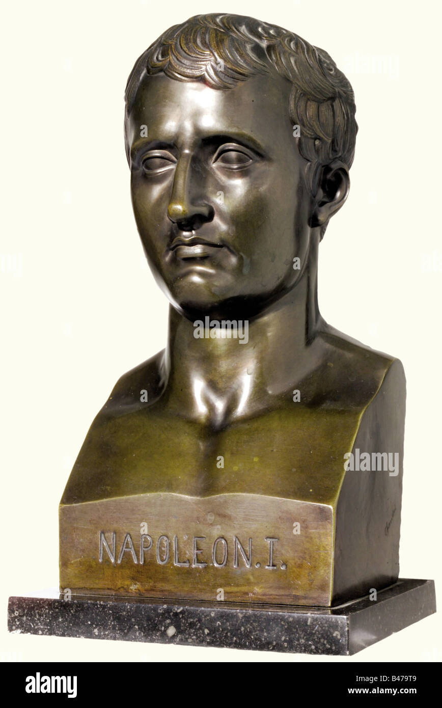 Napoleon I, a bronze bust, 19th century. Expressive bust of the young emperor with detailed lineaments. Lateral - Stock Image