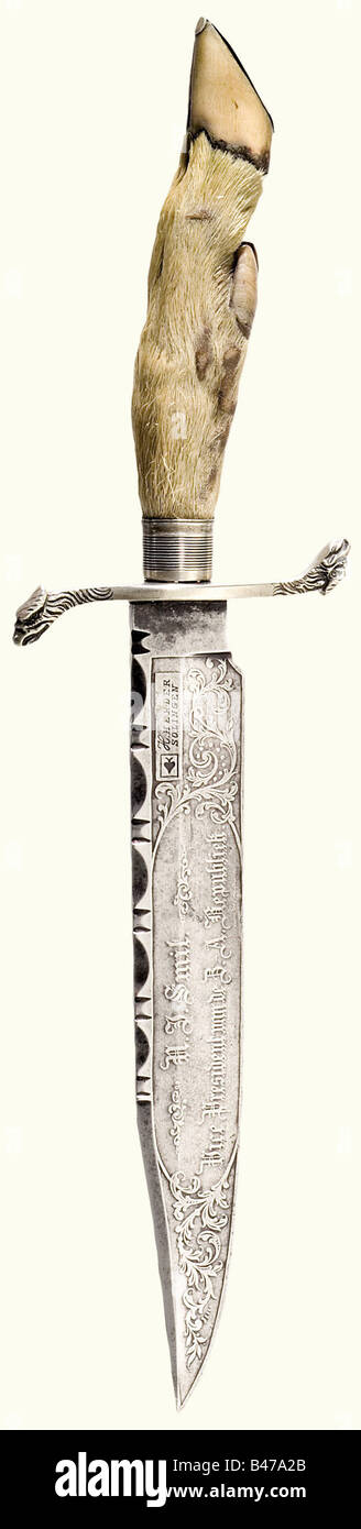 Nicholas Jacobus Smit (1837 - 1896), a presentation bowie knife, South Africa, circa 1885 A single edged blade with - Stock Image