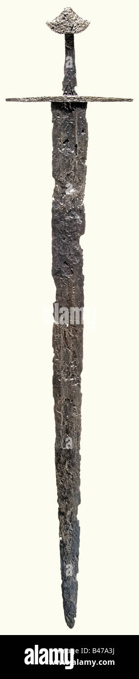 A knightly sword, German, 2nd half of the 12th century Double-edged blade with a broad fuller running to the point - Stock Image