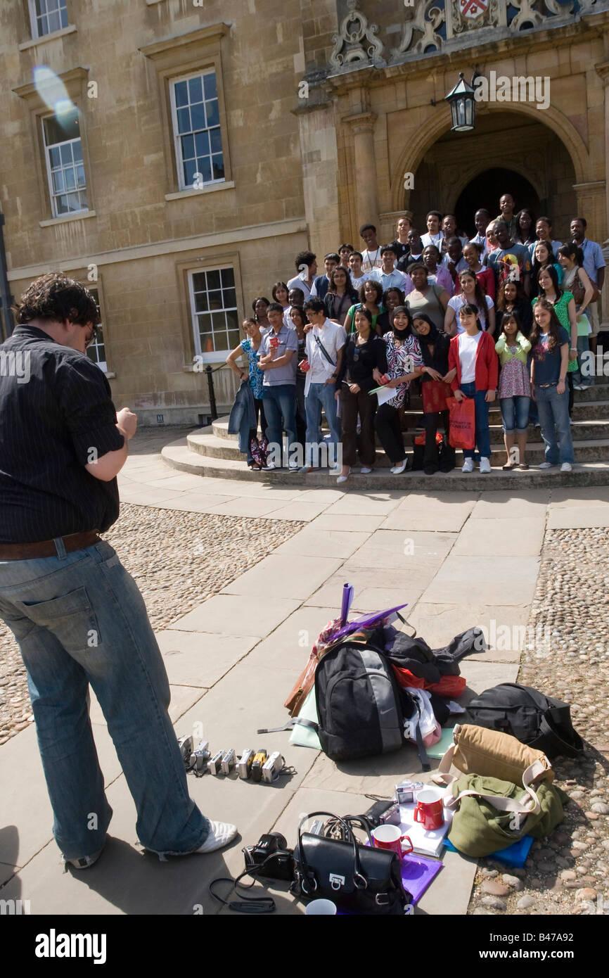 Group of teenage school pupils photographed by teacher, Cambridge Cambs GB UK - Stock Image