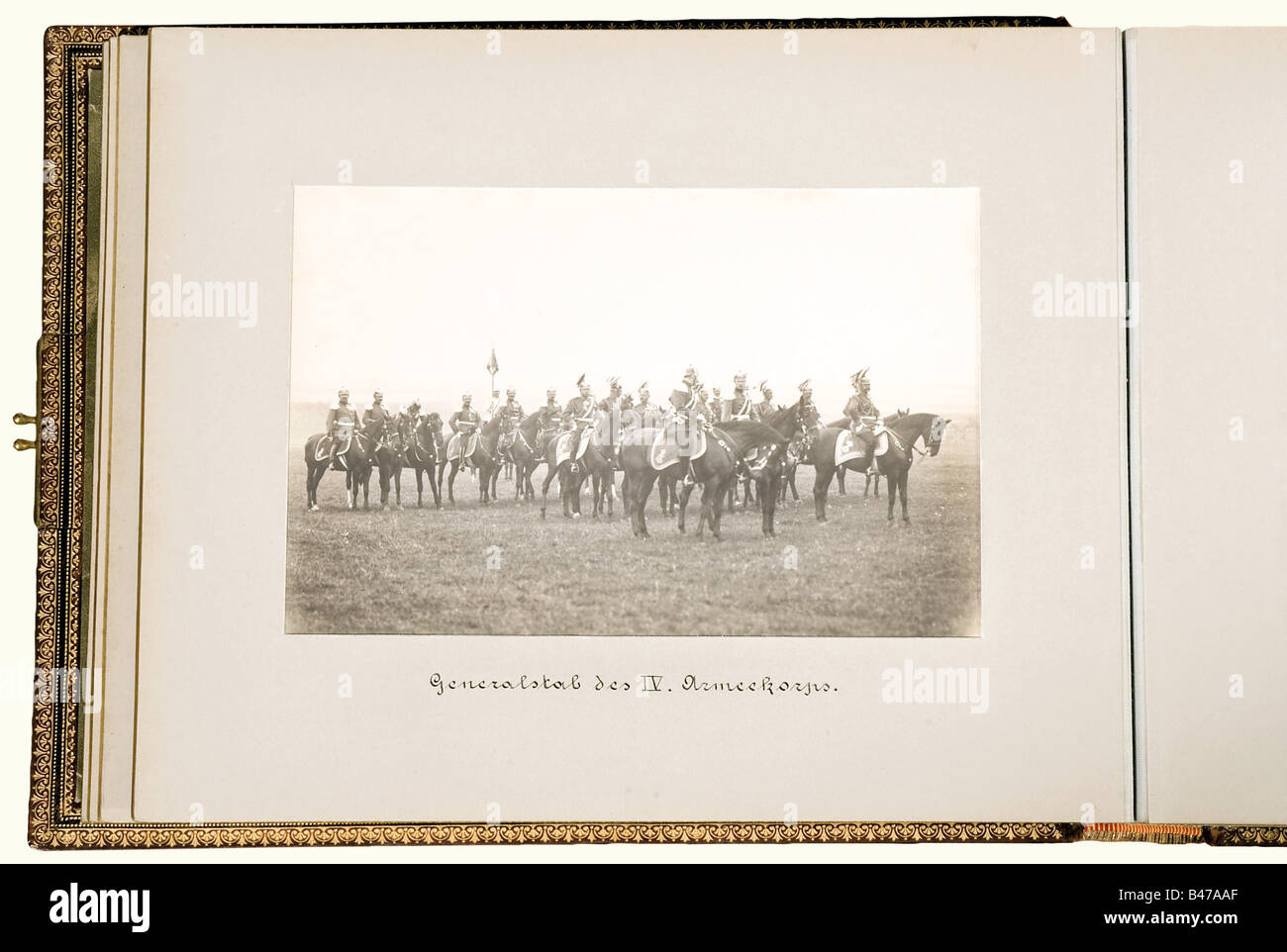 A photo album of the Imperial Parade at Merseburg, 4 September 1903. A lavish album with 33 large format photographs - Stock Image