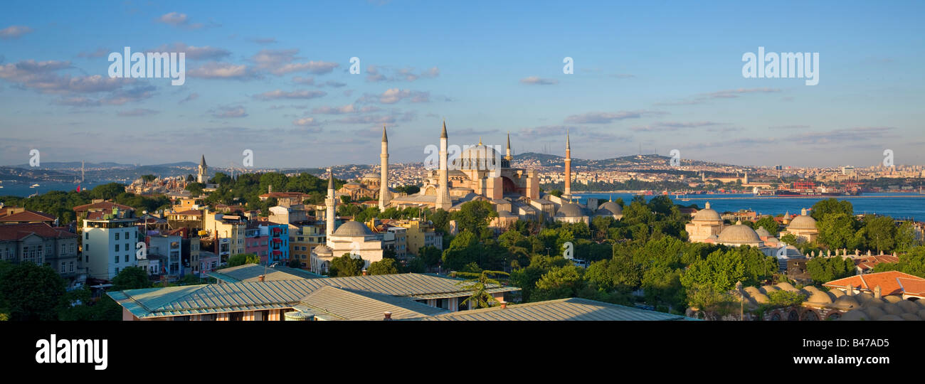 Turkey Istanbul Elevated view of the Hagia Sophia Mosque - Stock Image