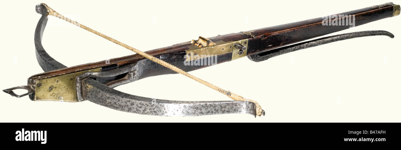 A crossbow, Spain, 16th century Heavy iron prod, with several smith marks (POURA?) stamped into the top. Ridged - Stock Image