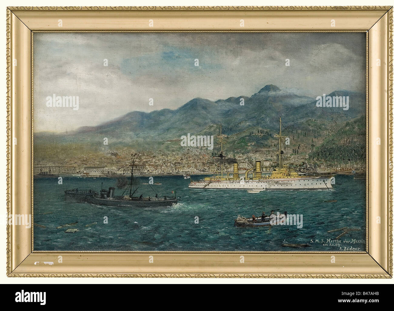 'S.M.S. Hertha at Messina' - signed 'R. Bödner'., Oil on canvas. The Hertha with small boats - Stock Image