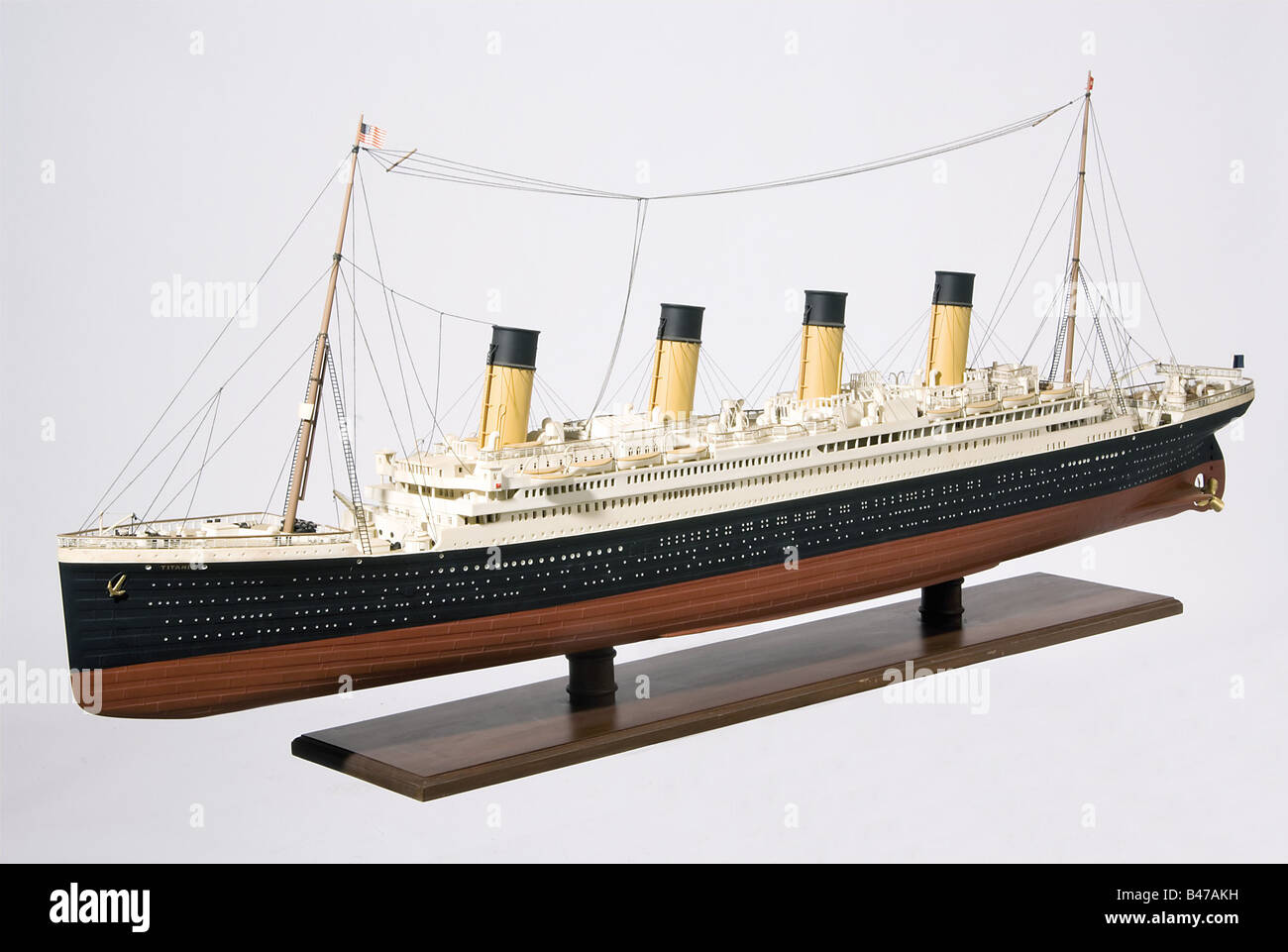 'RMS Titanic', a passenger ship of the White Star Line A highly detailed, fully rigged plastic model on - Stock Image