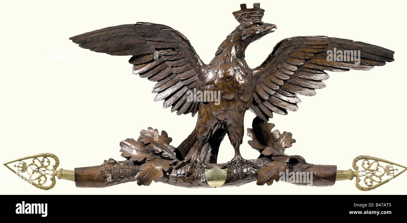 A wall decoration for the Officers' mess, of the Infanterie-Regiment Hamburg (2. Hanseatisches) No. 76 A carved - Stock Image
