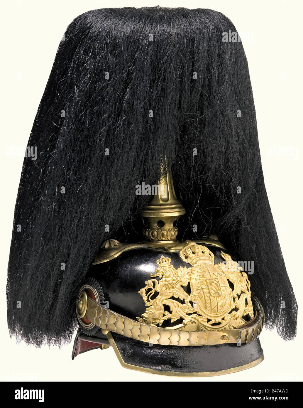 A model 1886/97 officer's helmet, Bavaria, Logistic Units Black lacquered leather skull. Frosted, gold-plated - Stock Image