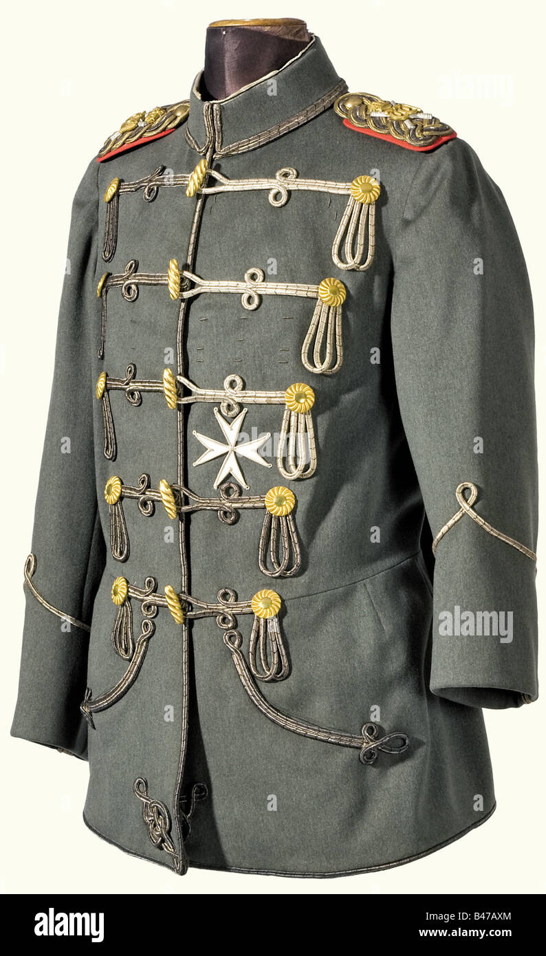 Kaiser Wilhelm II, an interim field grey attila for the Hussar Life Guards Regiment Fine, field grey cloth, with - Stock Image