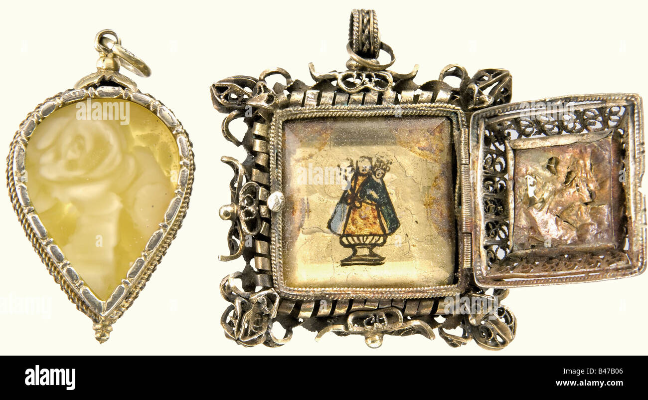 Two amulet pendants southern german circa 1700 rectangular two amulet pendants southern german circa 1700 rectangular filigree pendant of gold plated silver the hinged lids on both sid aloadofball Image collections