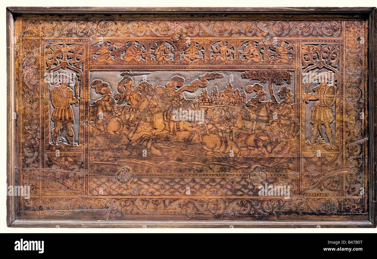 A wooden panel with a battle scene, German, middle of the 17th century Heavy hardwood panel made up of three planks - Stock Image