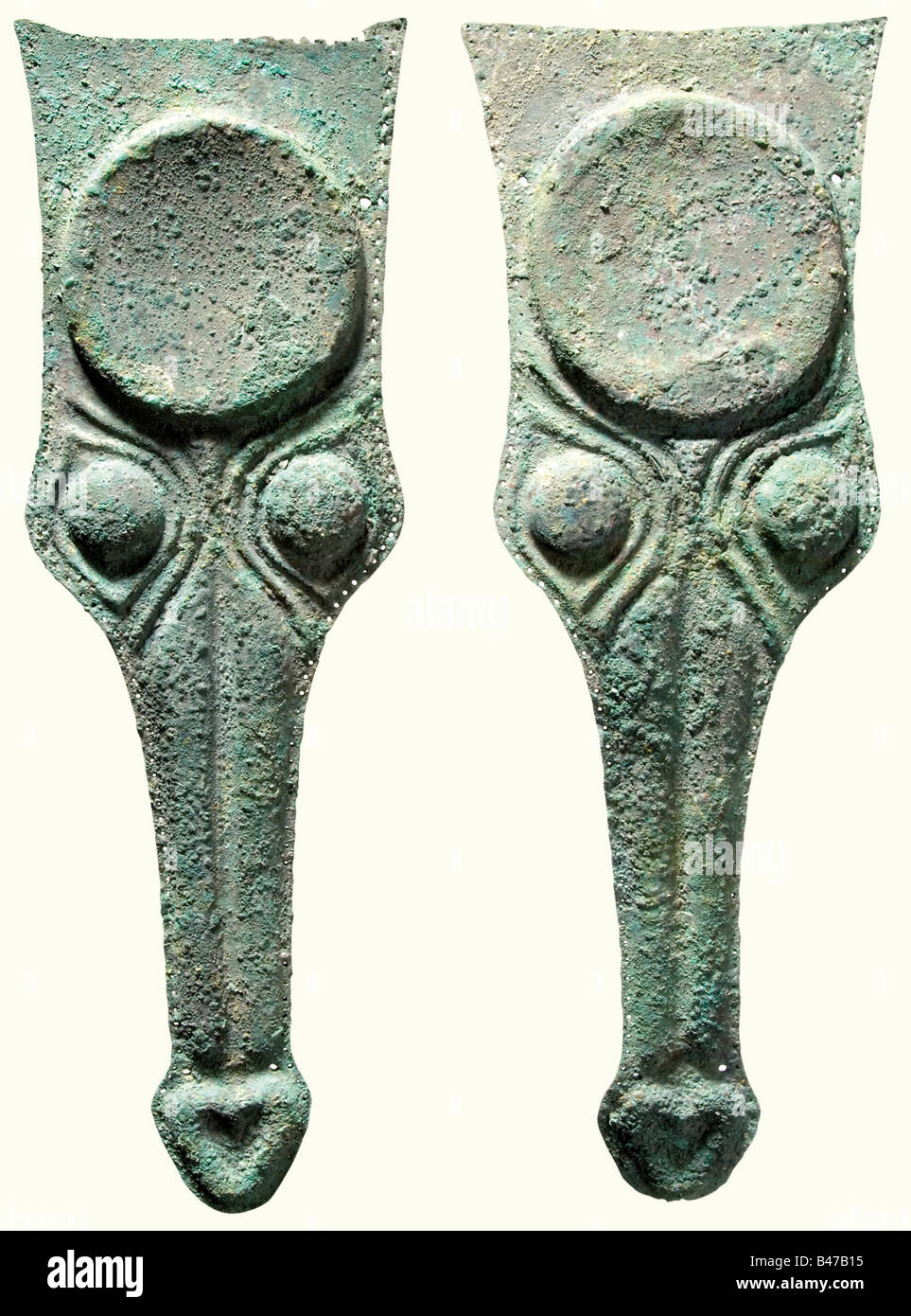 A pair of prometopidia, Greco-Roman, 5th/4th century B.C. A pair of protective bronze chamfrons with the brows, - Stock Image