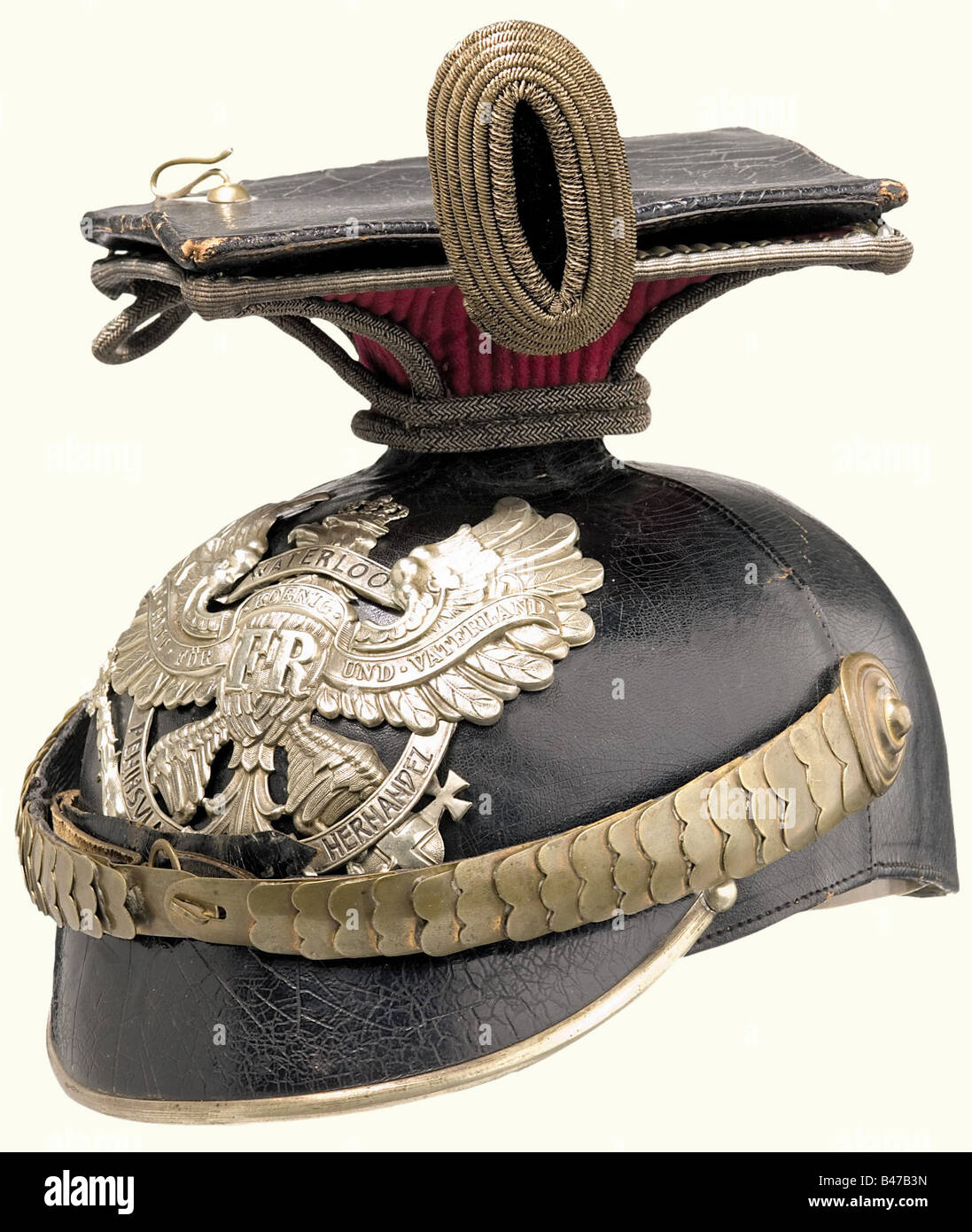 A czapka for officers, of the 2. Hanoverian Uhlan Regiment No. 14 A four piece, black lacquered leather skull (lightly - Stock Image