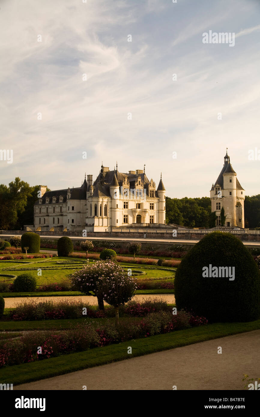 Chateau de Chenonceau at sunset, looking southwest from Diane de Poitiers's Garden, Loire Valley France. - Stock Image