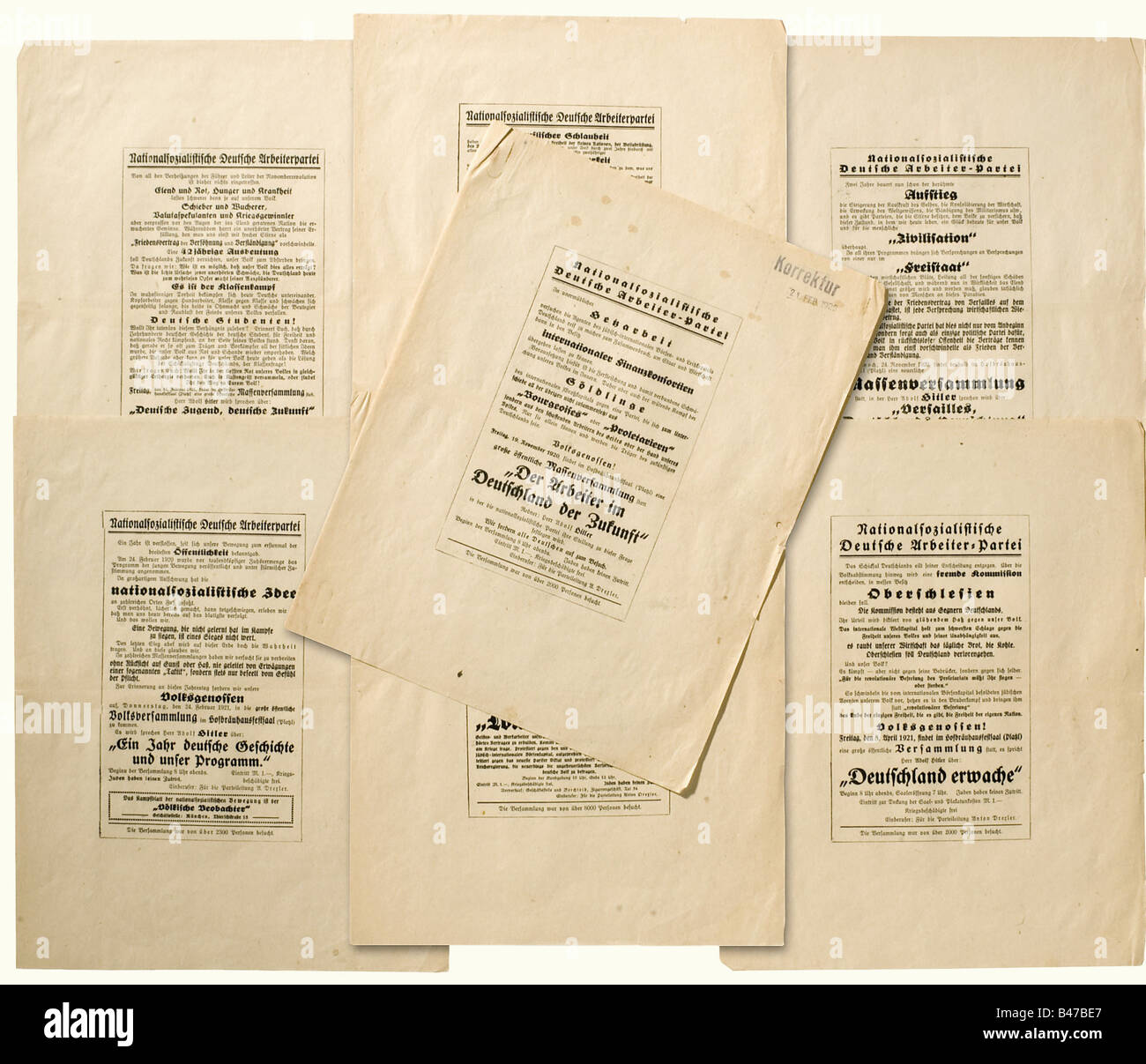 Adolf Hitler - Mein Kampf, galley proofs for a poster appendix 'Correction 21 February 1925'. Seven facsimiles - Stock Image