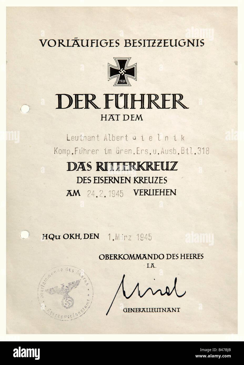 Lieutenant Albert Gielnik A Preliminary Award Document