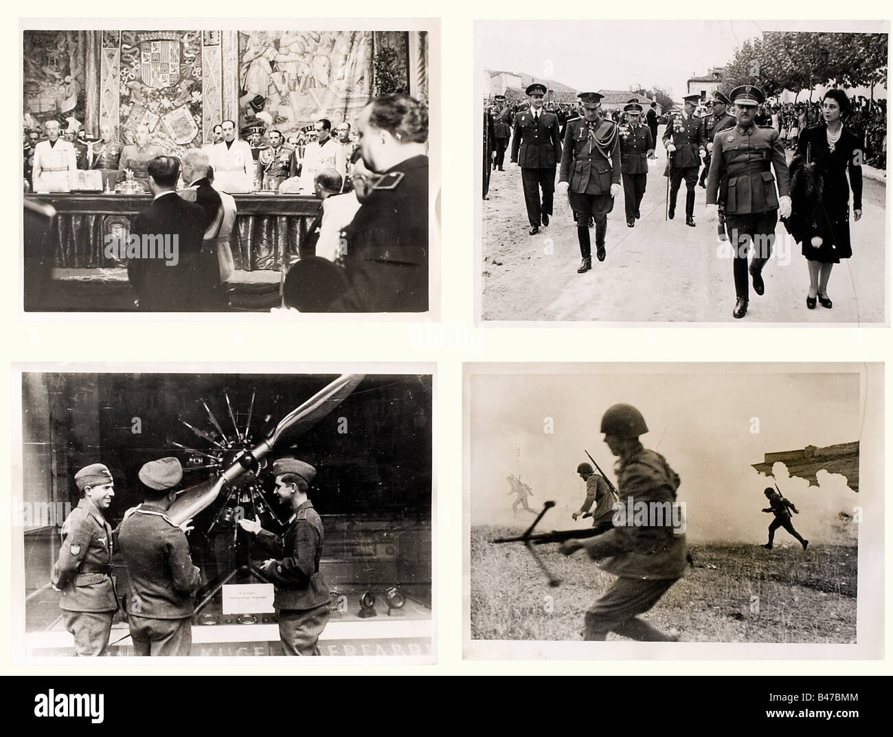 100 newspaper photographs - Spain, period of the Civil War and Second World War Interesting photos of the end of - Stock Image