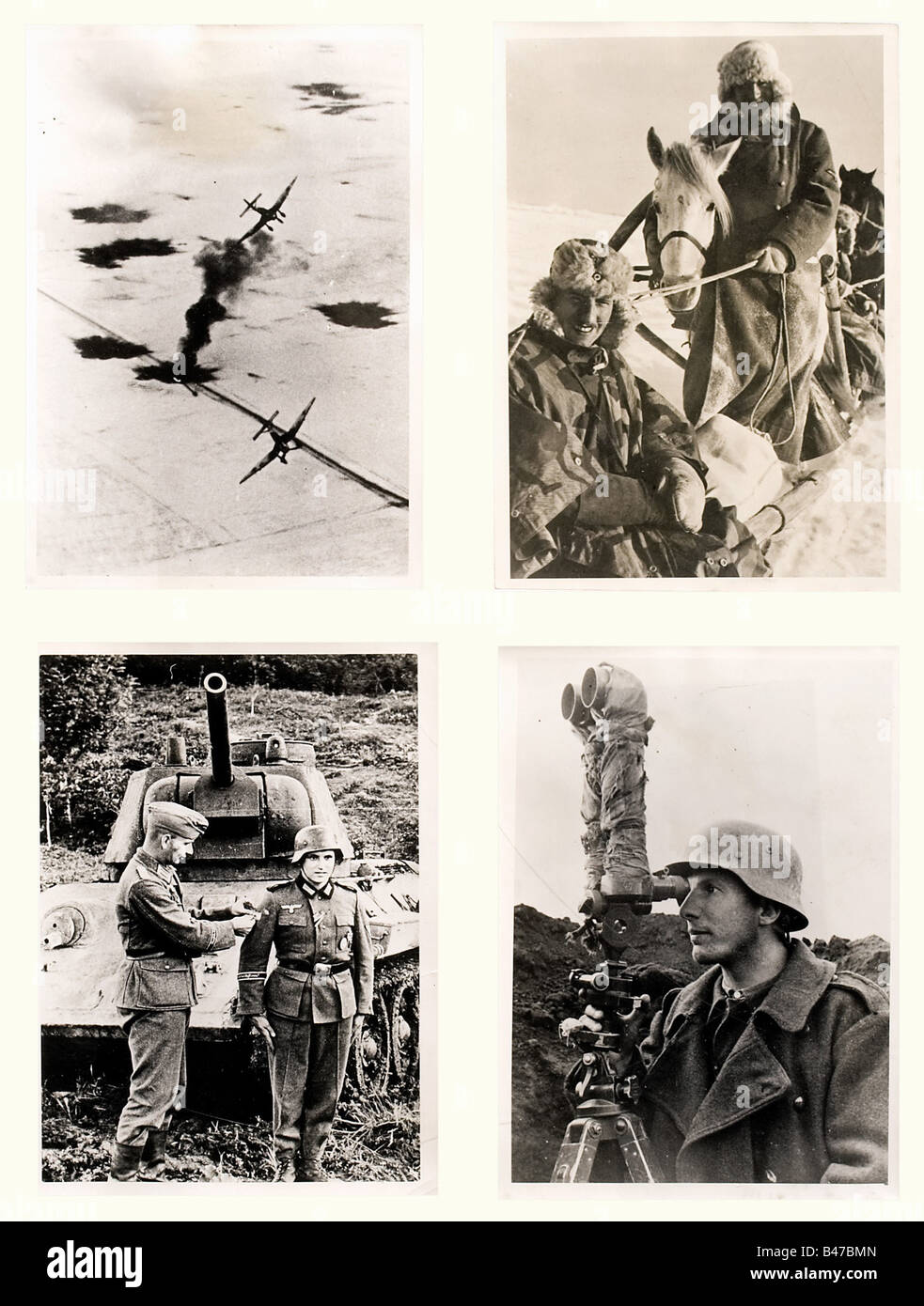 100 newspaper photographs - Russia, period of the Second World War, the Russian Campaign Interesting photos of the - Stock Image