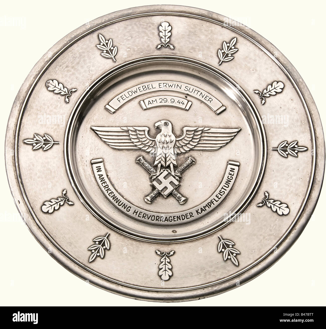 A Luftwaffe honour salver for Outstanding Combat Performance, awarded to Feldwebel Erwin Suitner Stamped bowl of - Stock Image