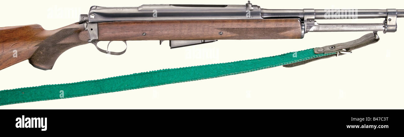 A Self-loading rifle Holek, calibre 8 x 57, no. 217. Matching numbers. Mirrorlike bore, length 51 cm. The weapon - Stock Image