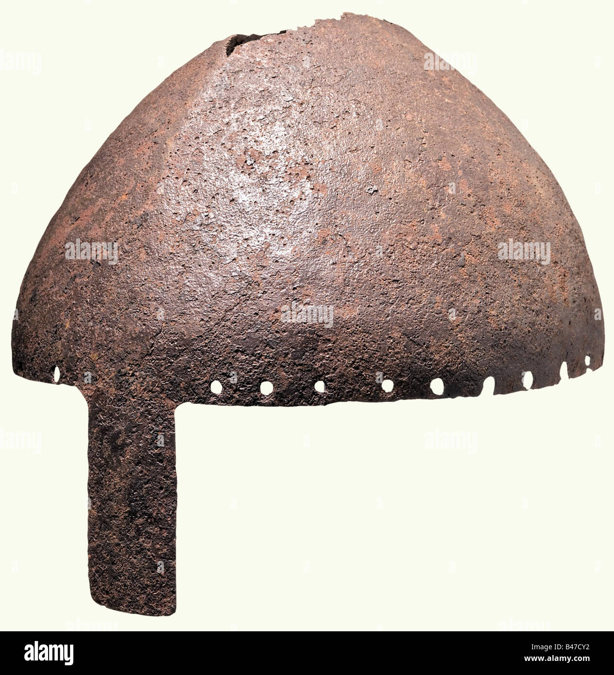 A helmet with nasal, Central Europe, 10th/11th century. Slightly ridged skull, forged in one piece. There is severe Stock Photo