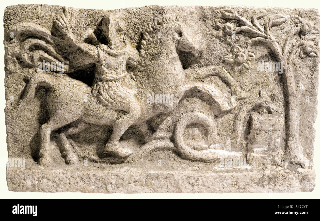 An Apollo marble relief, Roman, 2nd-3rd century A.D. Apollo on horseback beside Aesculapian snake and altar, the Stock Photo