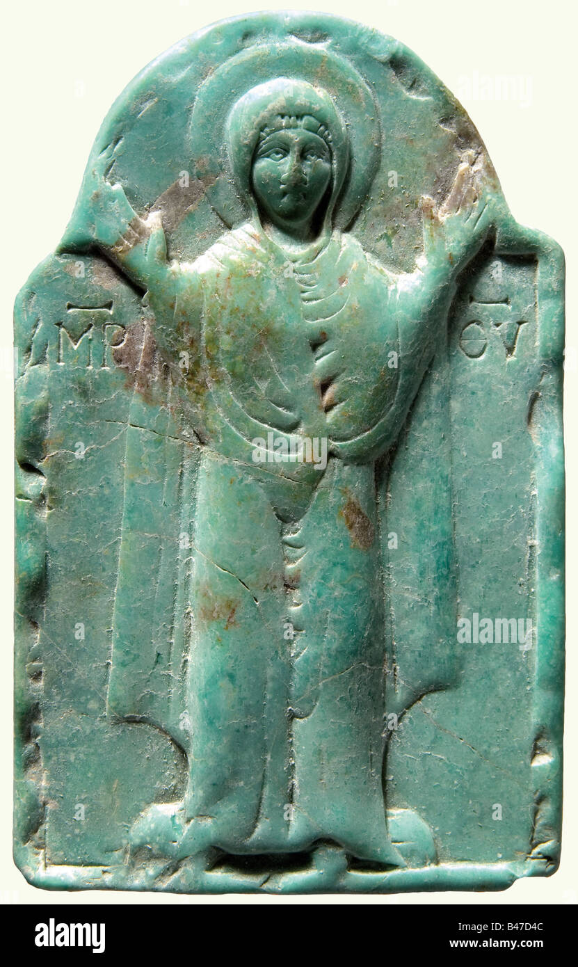 A Byzantine turquoise icon, 10th/11th century A.D. Turquoise matrix with brown inclusions. High rectangular plate - Stock Image
