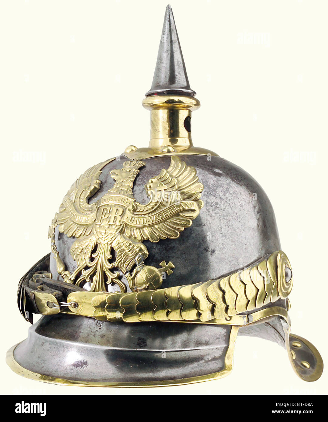 Prussia: A helmet for troopers, of cuirassiers of the line, 1867 pattern. Brass-rimmed steel skull, showing some - Stock Image