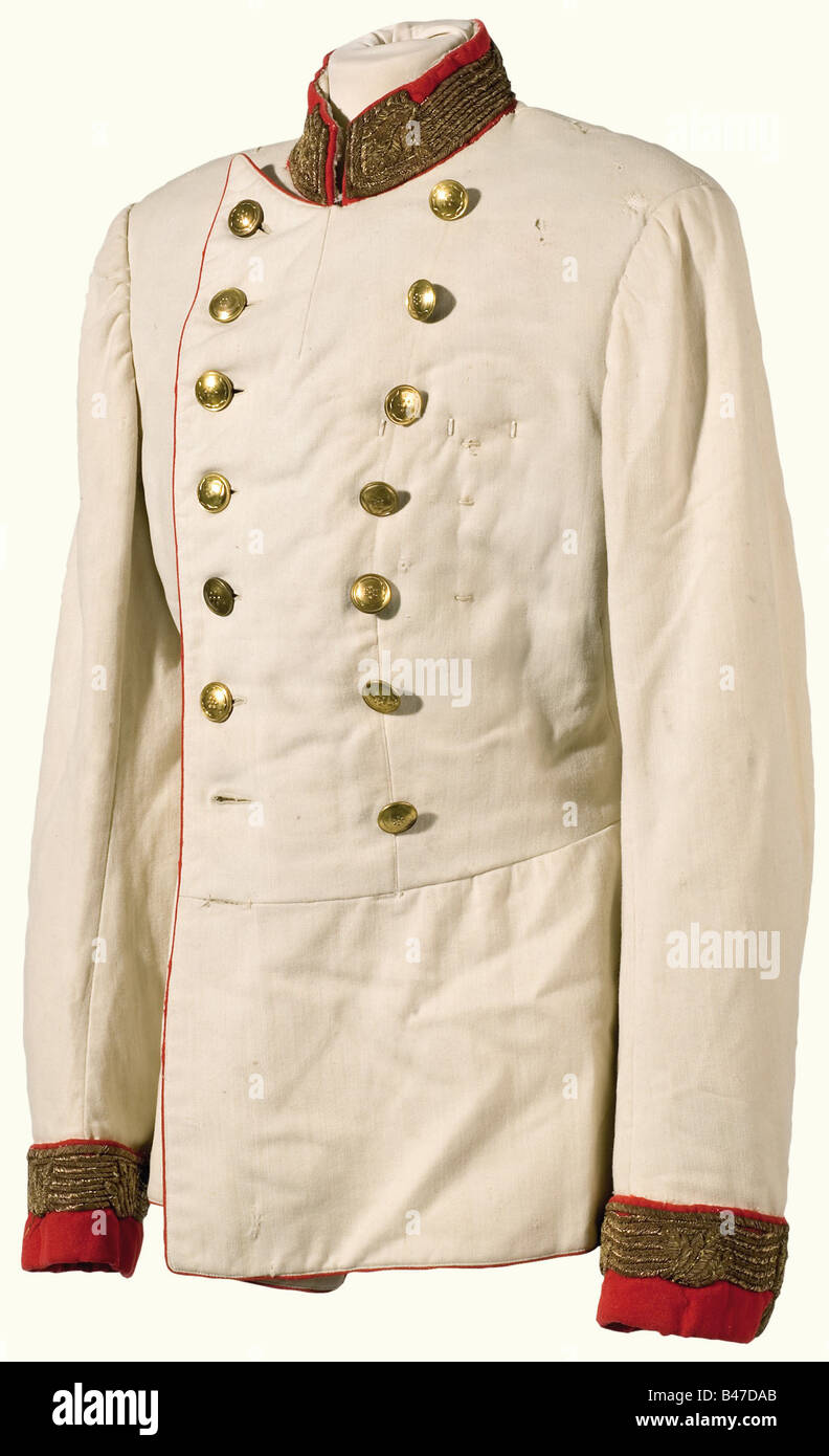 cee6ff0d3f6d1 A white tunic for a Field Marshal., Fine white cotton linen with red piping