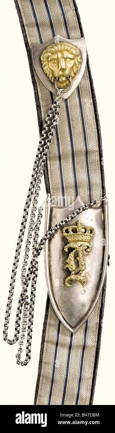 An 1837/1864 officer's pouch, 1st Uhlan Regiment. A leather box covered with black Moroccan leather, silver - Stock Image
