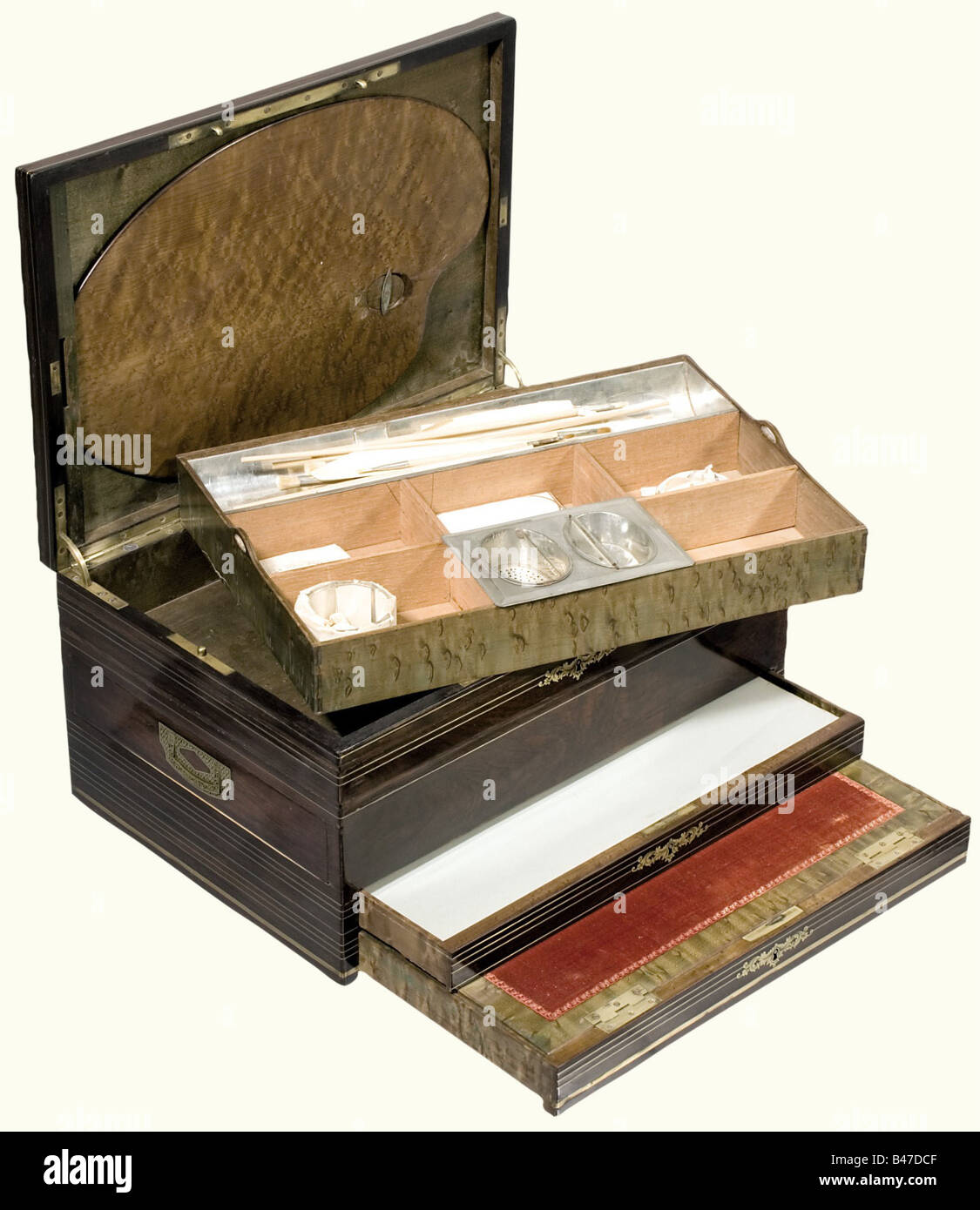 Sophie-Marie Duchess of Baden - a traveling paint box, Deforge & Carpentier, Paris, circa 1880. Lavishly worked - Stock Image
