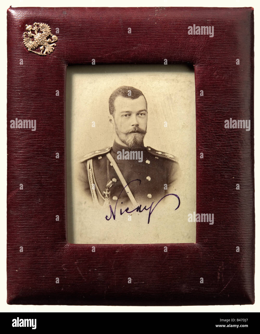 Tsar Nicholas II - a photograph, With autograph signature. In a leather-covered display frame, under glass, in the - Stock Image
