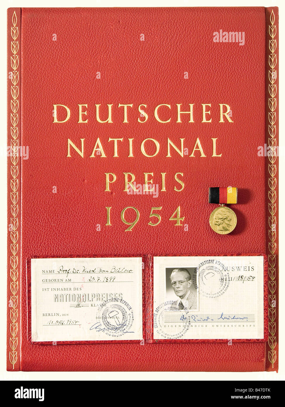 A German National Prize for Science and Technology III Class., Awarded to Professor Kurd von Bülow in 1954. - Stock Image