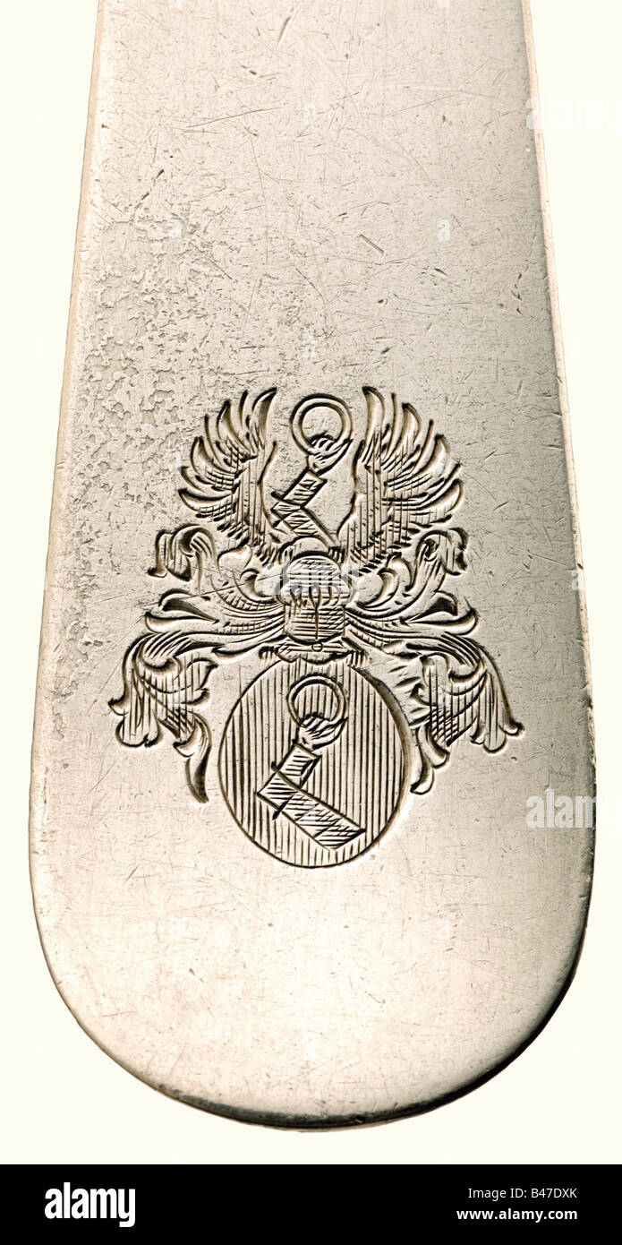 Hermann Göring - 23 pieces from his table silver., Each piece bears the Göring coat of arms, the maker's - Stock Image