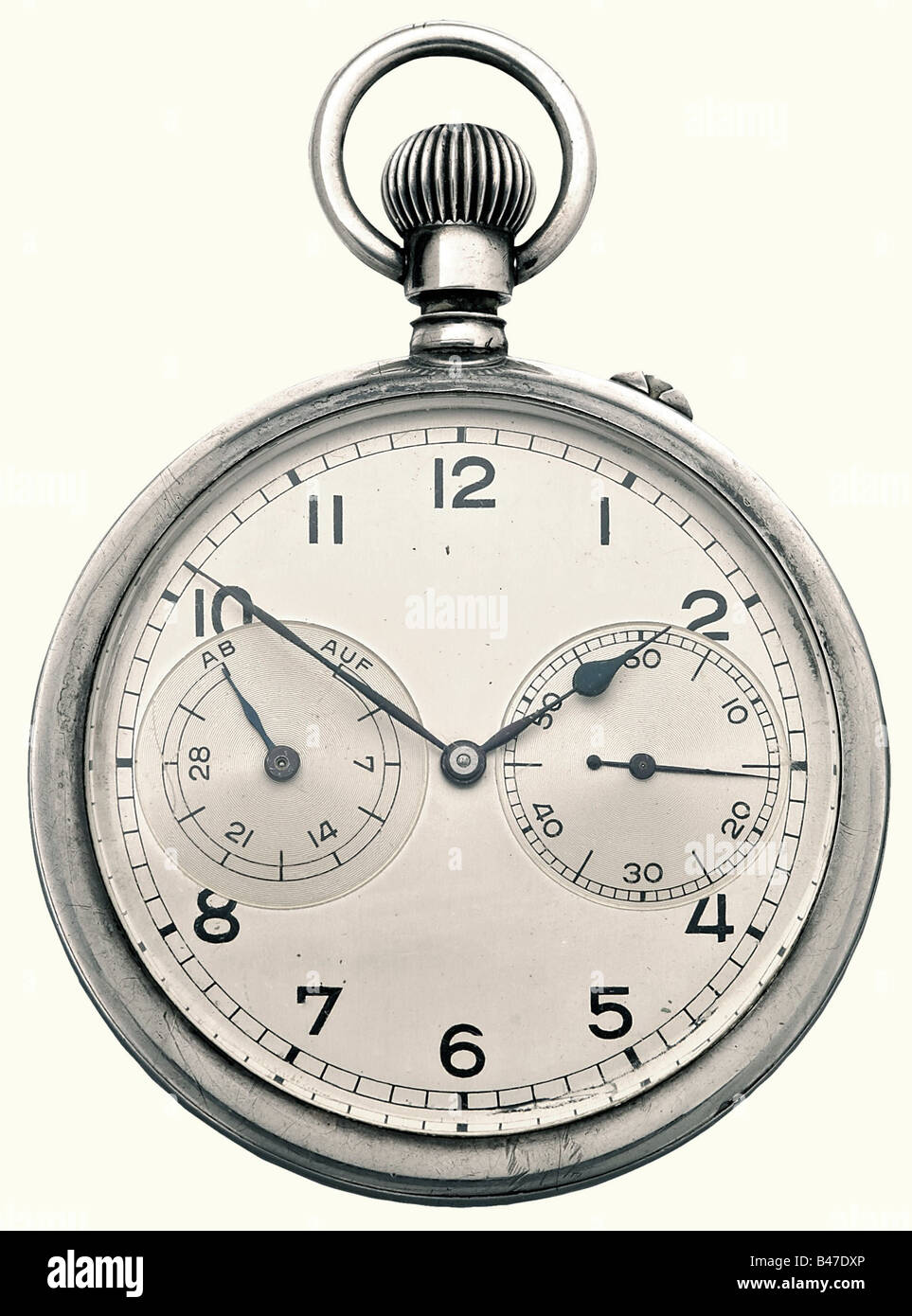 A chronometer, silver case, calibre 48. Silver-plated dial. Blued hands, power reserve indicator, and small second - Stock Image