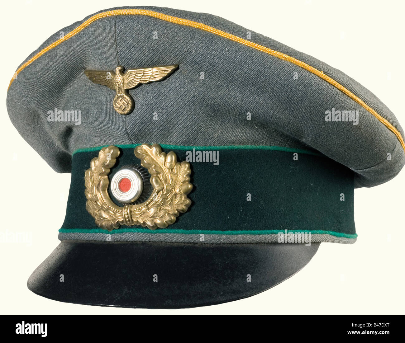 An old style field cap, for officials of general rank. Fine field grey cloth with dark green cap band, green piping - Stock Image
