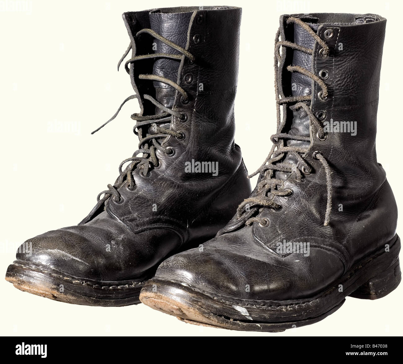 A 2nd model paratrooper boots., Black leather. Leather soles with later reinforcements. Heels (replacements) with - Stock Image