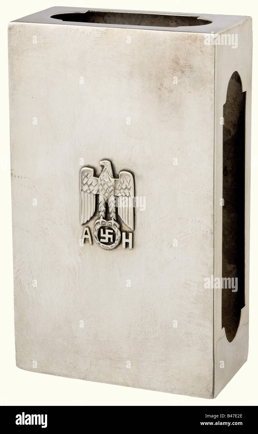 Adolf Hitler - a match case., Silver with cutouts on the sides for the striking surfaces. Superimposed national - Stock Image