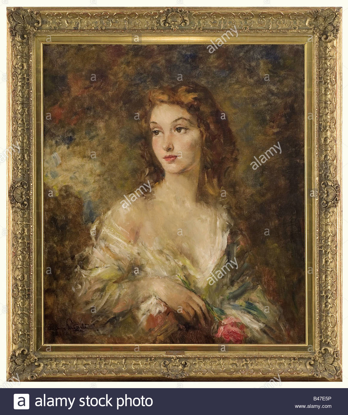Andreas Patzelt (1896 - 1980) - 'The Viennese Lady'., Oil on canvas, signed on the lower left 'Andreas - Stock Image