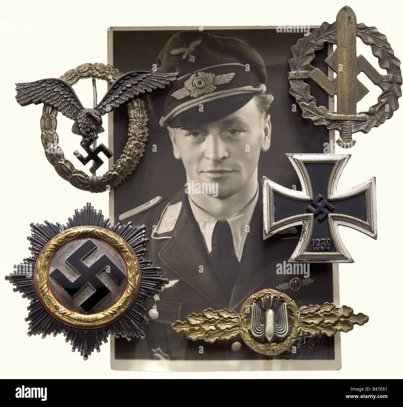 Orders and decorations legacy, of Lieutenant and Battle Squadron Wing Leader Fritz Sellhorn. German Cross in Gold, - Stock Image