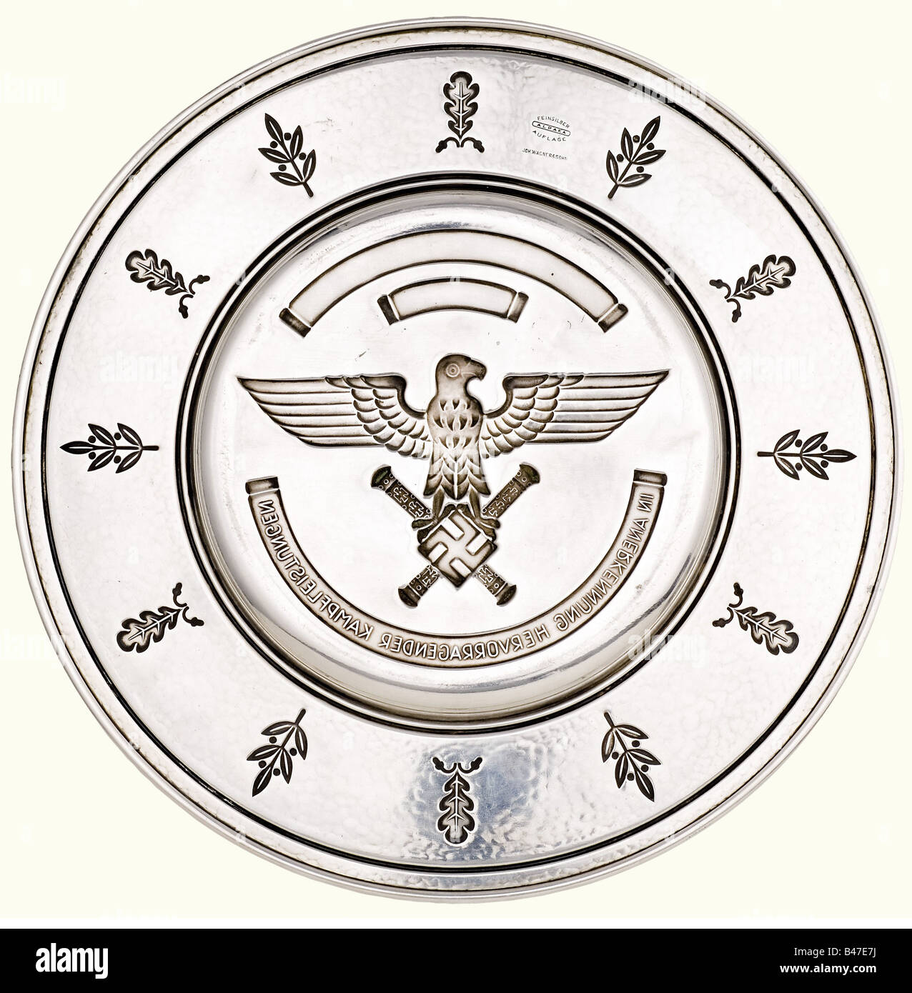 A Luftwaffe honour salver, for outstanding conduct in combat. Recess-stamped, silver-plated alpaca alloy salver - Stock Image