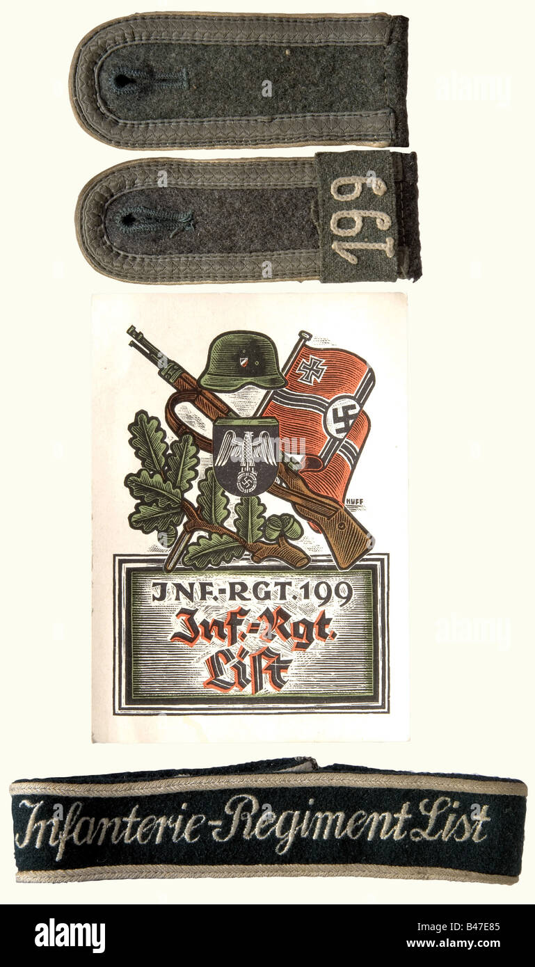 """A cuff band """"Infanterie-Regiment List""""., Dark green woolen cloth with silver grey edge trim and machine embroidered Stock Photo"""