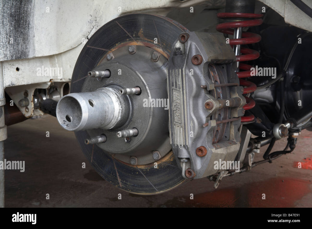 Brake disc rotor and calliper on a dedicated motorsport race car - Stock Image